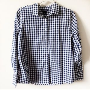 Land's End Blue and White Check Button Down Sz 10P